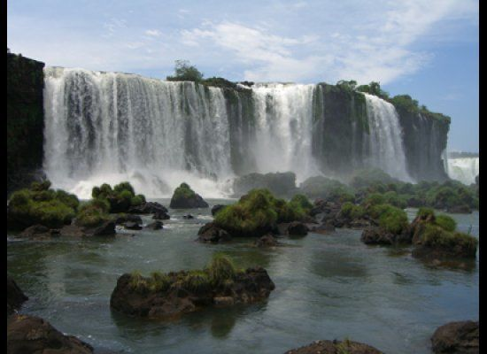 I like the wide sheets of water of the Iguazu Falls.