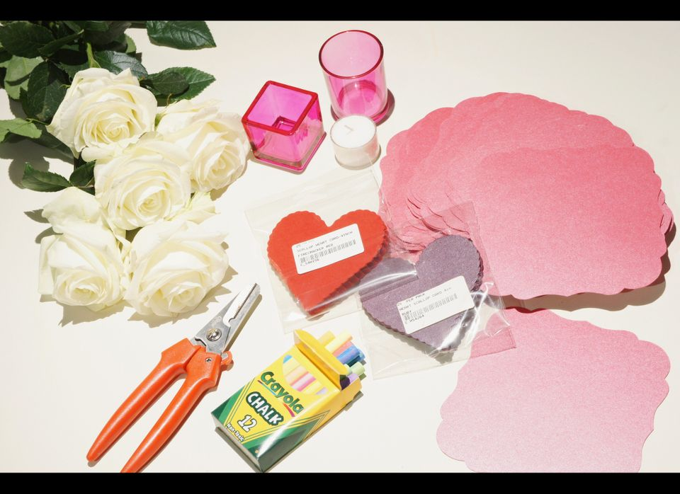 Purchase these materials to create my intimate table setting: 2 packs scalloped paper hearts, 1 pack scalloped squares, 10 wh