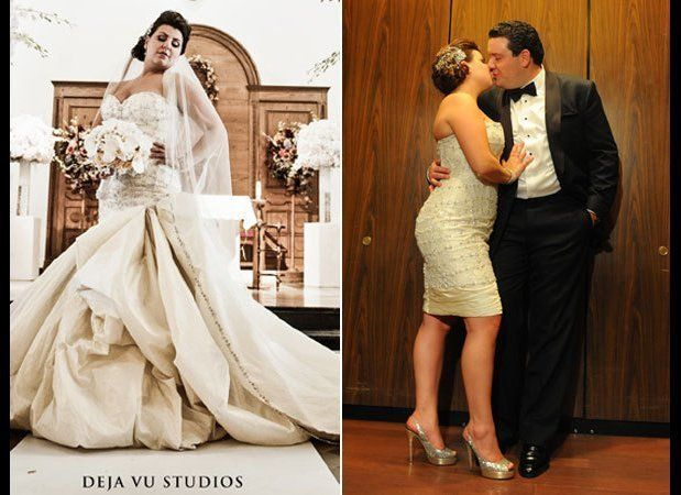 """Believe it or not, these photos feature the same exact dress! """"Transformer"""" wedding gowns allow you to showcase dif"""