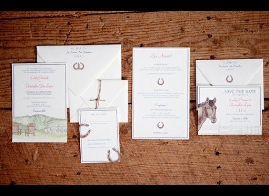 """Set the tone for your equestrian wedding through your invitation suite.<br><a href=""""http://lover.ly/search?e=0&q=invitations&"""