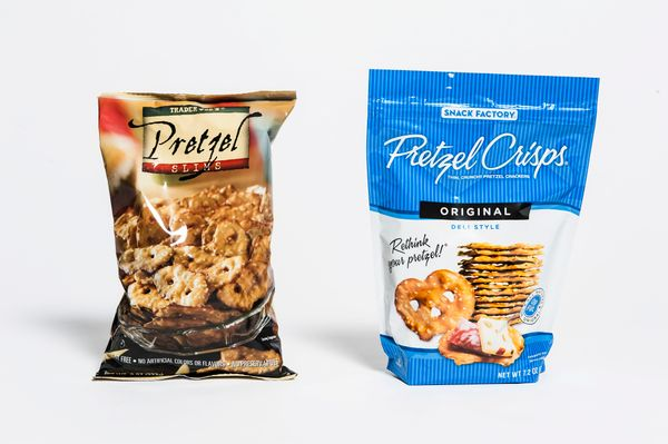 <b>Pricing:</b> Trader Joe's $2.19, Snack Factory $3.69<br><br><b>Tasting notes:</b> The Trader Joe's product comes in small,