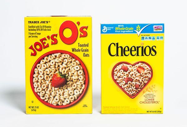 <b>Pricing:</b> Trader Joe's $1.99, Cheerios $4.99<br><br><b>Tasting notes:</b> Trader Joe's O's are paler and have a milder