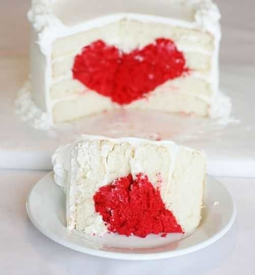 "<strong>Get the<a href=""http://iambaker.net/?s=heart"" target=""_blank""> Surprise Heart Cake recipe</a> by I Am Baker</strong>"