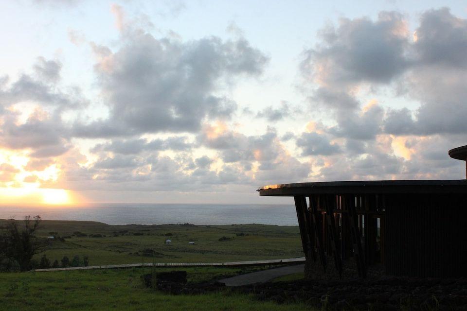 Sunrise over the southeastern coast of Easter Island.