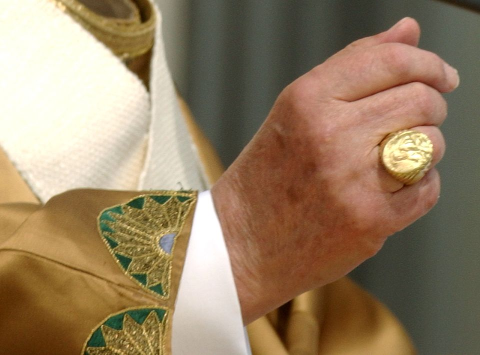 """It is one of the Pope's symbols of """"power."""" He placed it on his finger after the election, he removed it every Good Friday du"""