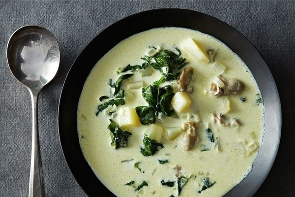 """<strong>Get the <a href=""""http://food52.com/recipes/19204-oyster-and-spinach-chowder"""" target=""""_blank"""">Oyster and Spinach Chowd"""