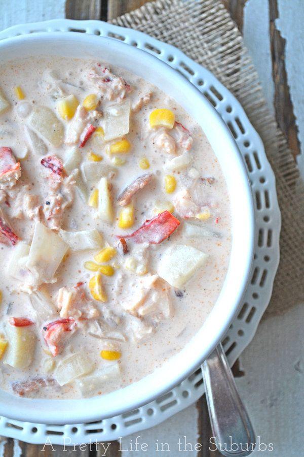 """<strong>Get the <a href=""""http://www.aprettylifeinthesuburbs.com/2013/01/lobster-corn-chowder.html"""">Lobster Corn Chowder recip"""