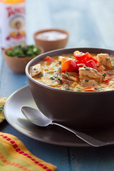 """<strong>Get the <a href=""""http://www.acommunaltable.com/salsa-chowder/"""">Salsa Chowder recipe from A Communal Table</a></strong"""