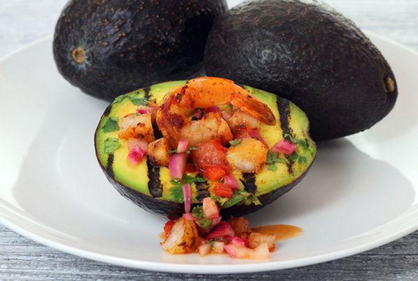 "<strong>Get the <a href=""http://paleonewbie.com/grilled-avocado-shrimp-boat/"">Grilled Avocado Shrimp Boat</a> from Paleo Newb"
