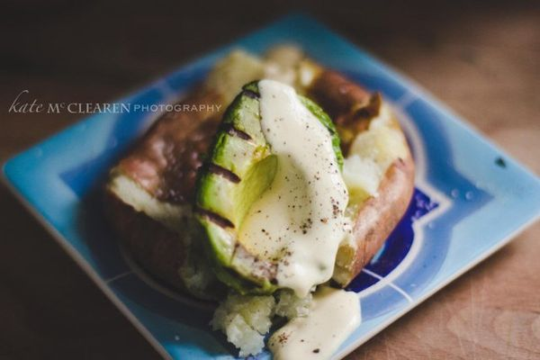 """<strong>Get the <a href=""""http://blog.theeverydaychefandwife.com/baked-smashed-potato-grilled-avocado-with-mustard-cream-sauce"""