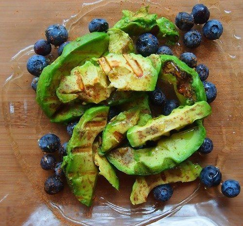 """<strong>Get the <a href=""""http://undressedskeleton.tumblr.com/post/41894433511"""">Blueberry And Grilled Avocado Salad recipe fro"""