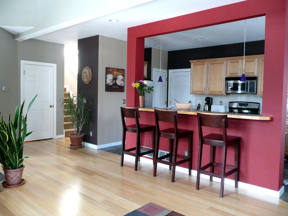 The Mustaches' home is bright and modern, with pops of color and a spacious open floor plan.