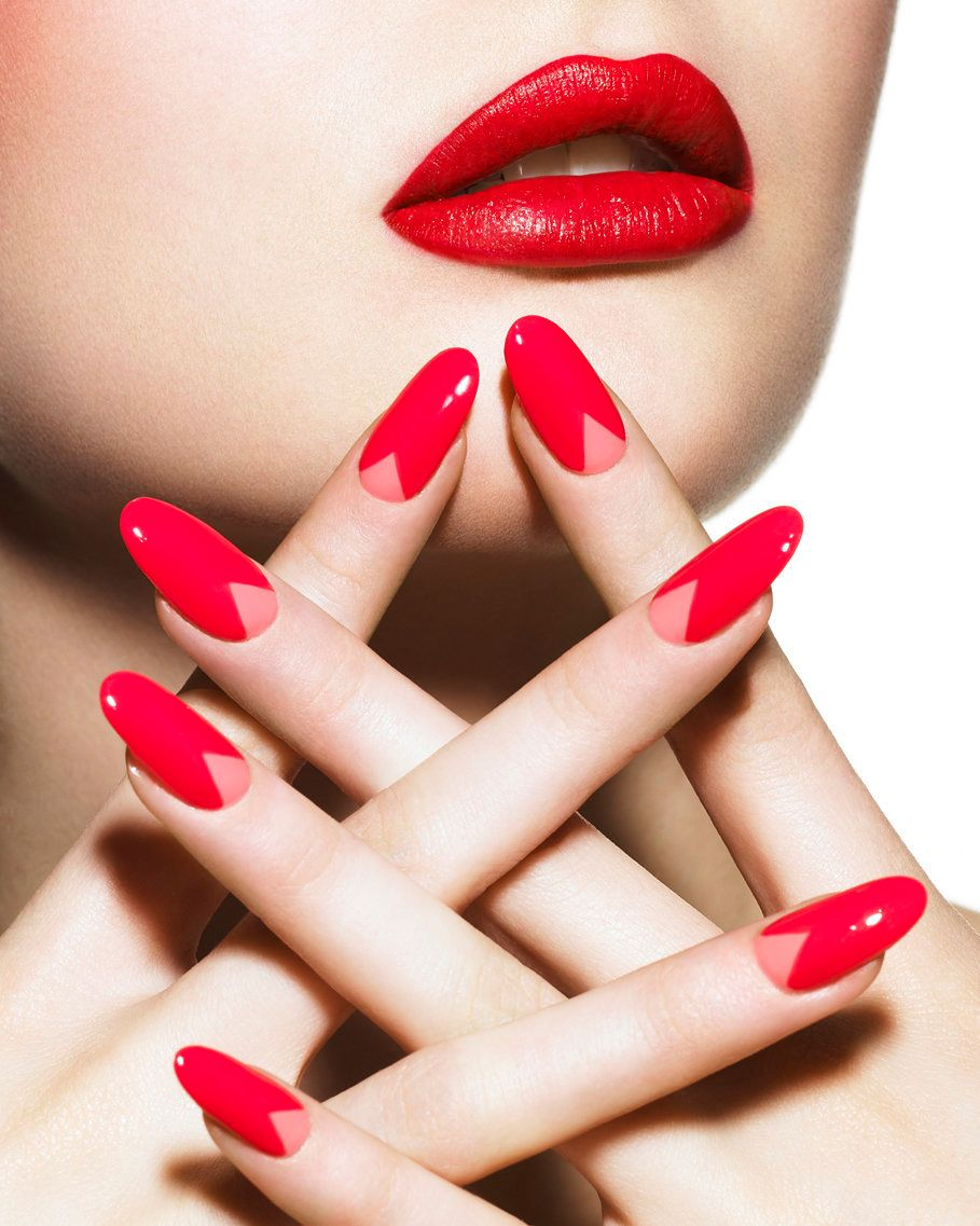 V Shaped Nail Art Why We Love The Modern Half Moon Manicure Photos