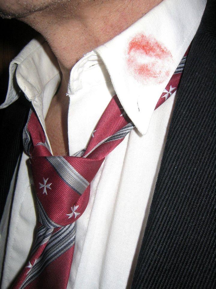 Lipstick on man's collar