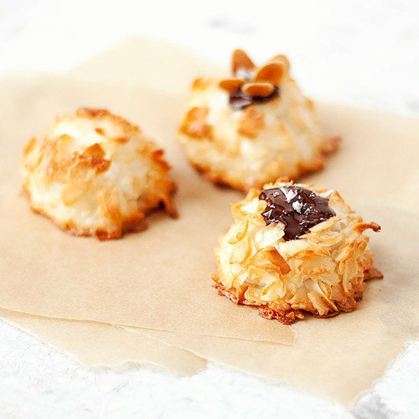 """<strong>Get the <a href=""""http://www.seasonsandsuppers.ca/alice-medrichs-coconut-macaroons/"""">Chocolate-Topped Coconut Macaroon"""