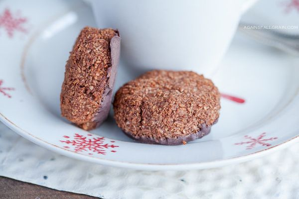 """<strong>Get the <a href=""""http://www.againstallgrain.com/2012/12/18/peppermint-chocolate-macaroons/"""">Peppermint Chocolate Maca"""