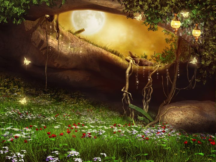 Enchanted cave with flowers, lanterns and butterflies