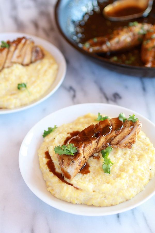 "<strong>Get the <a href=""http://www.halfbakedharvest.com/balsamic-orange-glazed-chicken-with-creamy-goat-cheese-polenta/"">Bal"