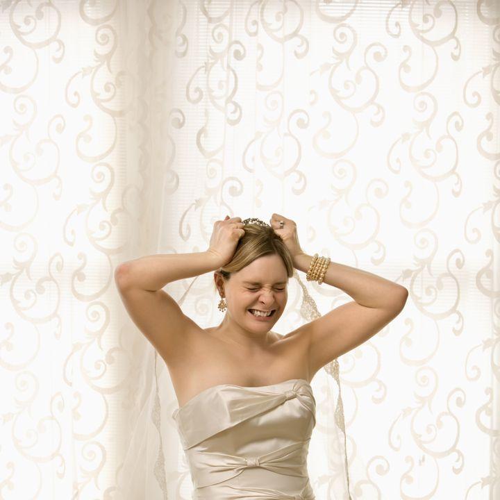 portrait of caucasian bride...