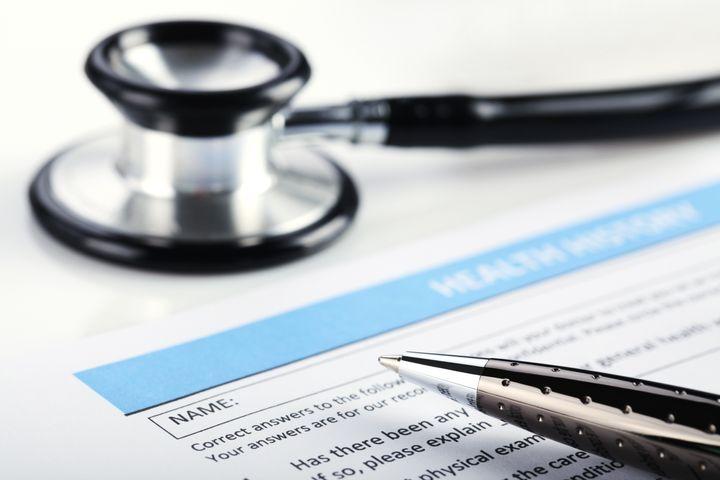 filling medical form  document  ...