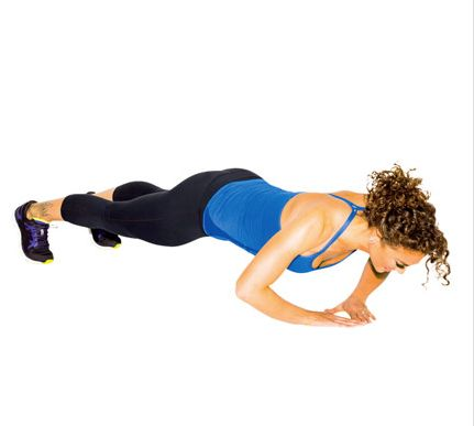 Start in a plank. Walk hands together so thumbs and forefingers form a triangle. Do a complete push-up (as shown) for 1 rep.