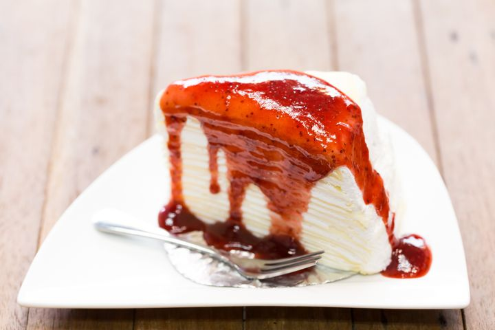 closeup crape strawberry cake