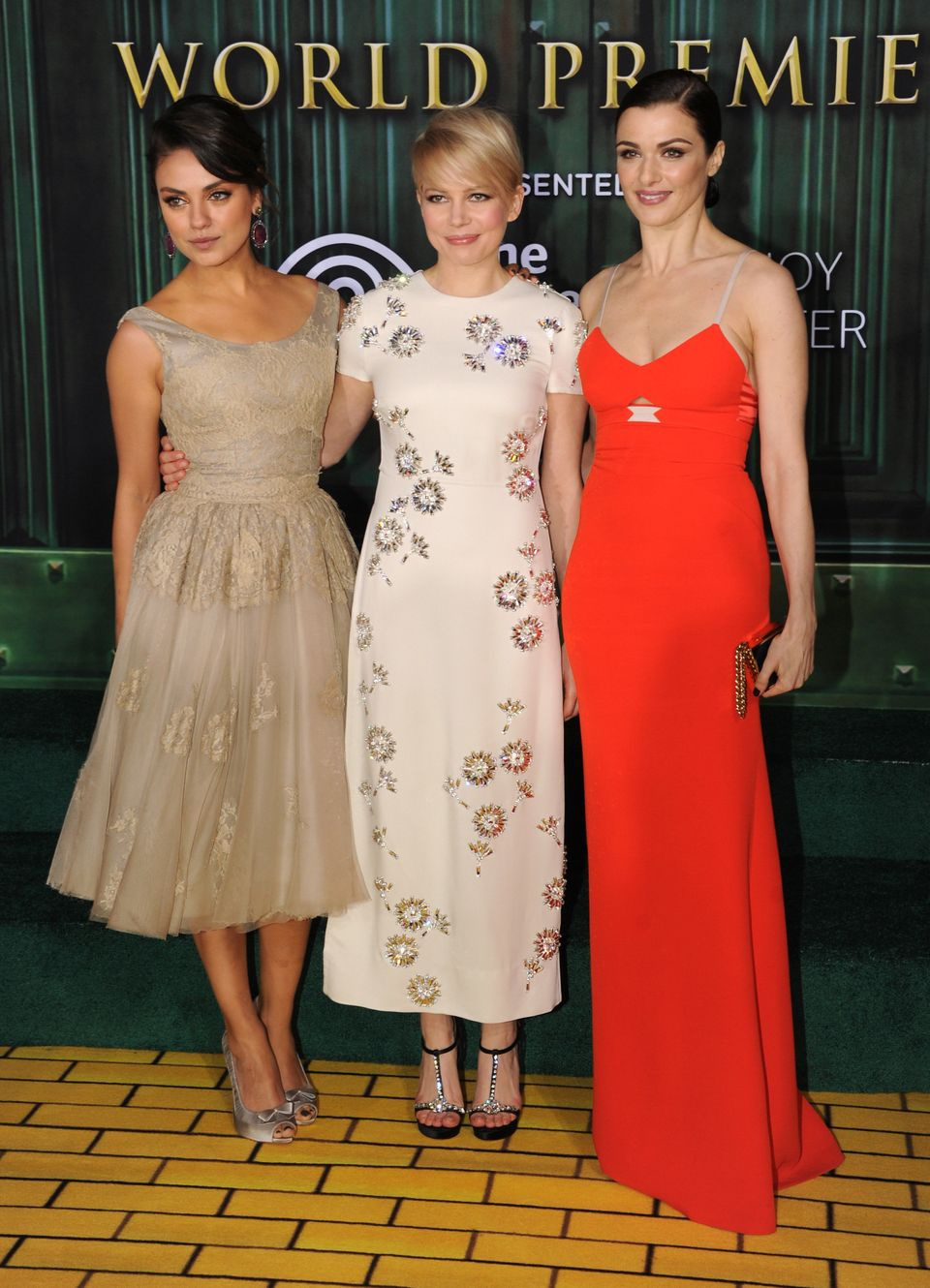 HOLLYWOOD, CA - FEBRUARY 13:  (L-R) Actresses Mila Kunis, Michelle Williams and Rachel Weisz attend the world premiere of Wal