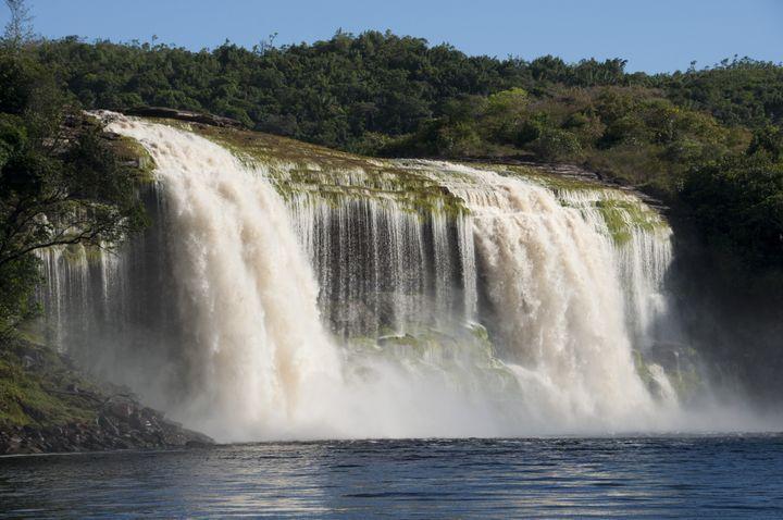waterfall at canaima  venezuela