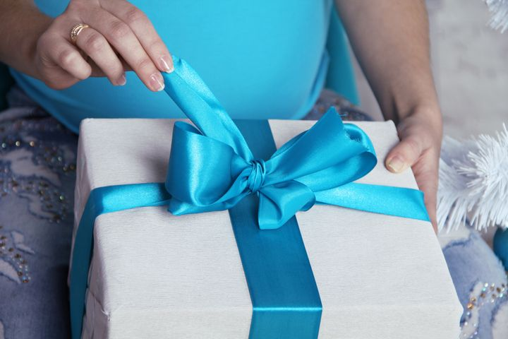 opening gift boxes with blue...