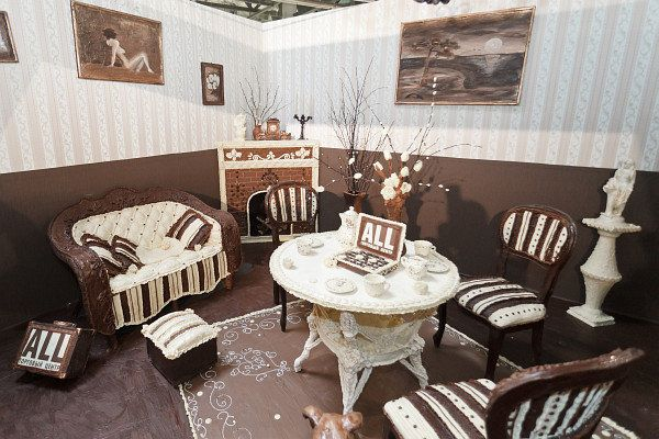A room in Minsk, Belarus where everything -- the furniture, the rug, the artwork -- is made out of chocolate.
