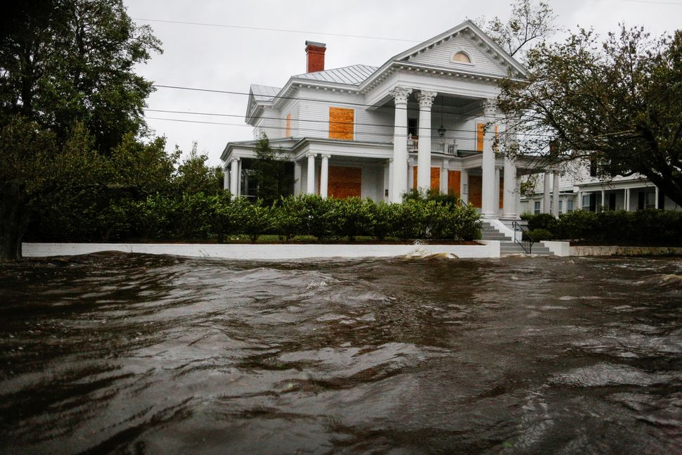 Water from the Neuse River floods houses in New Bern, North Carolina.