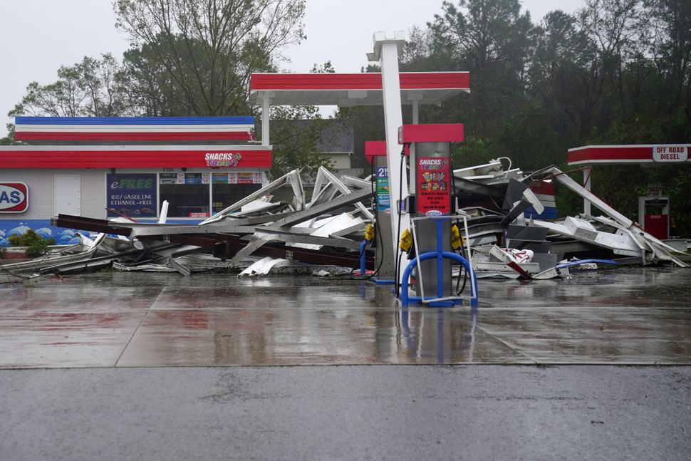 A gas station with its roof blown off in Wilmington, North Carolina.