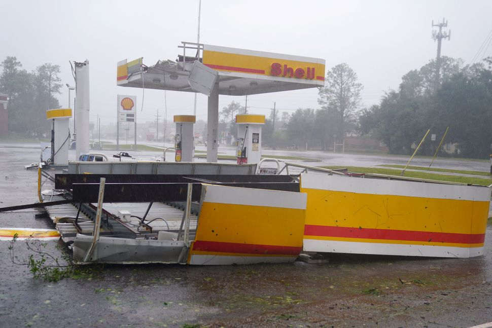 Another battered gas station in Wilmington, North Carolina.