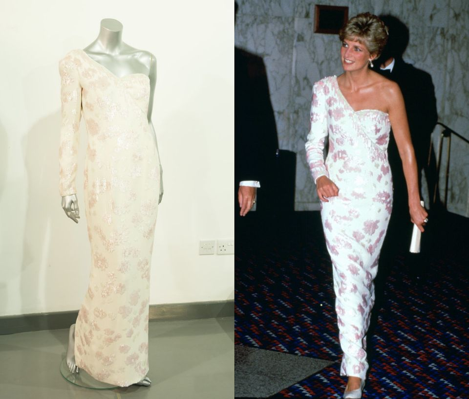 A Catherine Walker pink sequinned ivory crepe gown with asymmetric neckline, worn at the banquet given by President Collor on