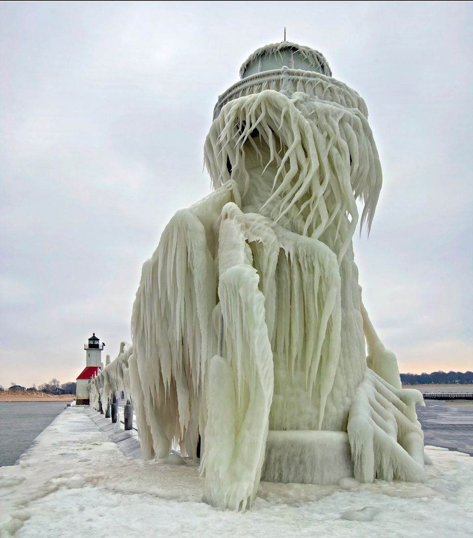 The 30 foot tall outer light of the St. Joseph, Michigan after a severe winter storm. Waves on Lake Michigan were said to be