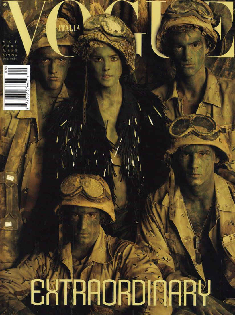 "<a href=""http://iconolo.gy/archive/make-love-not-war/65"">Steven Meisel's spread</a> was accused of glamorizing combat with co"