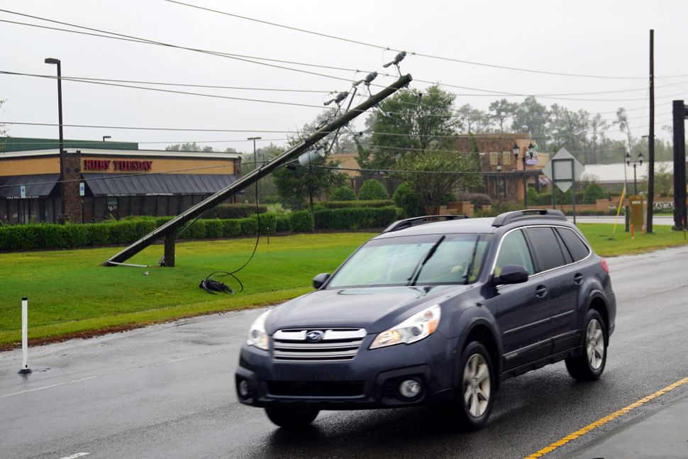 A downed power line in Wilmington, North Carolina.
