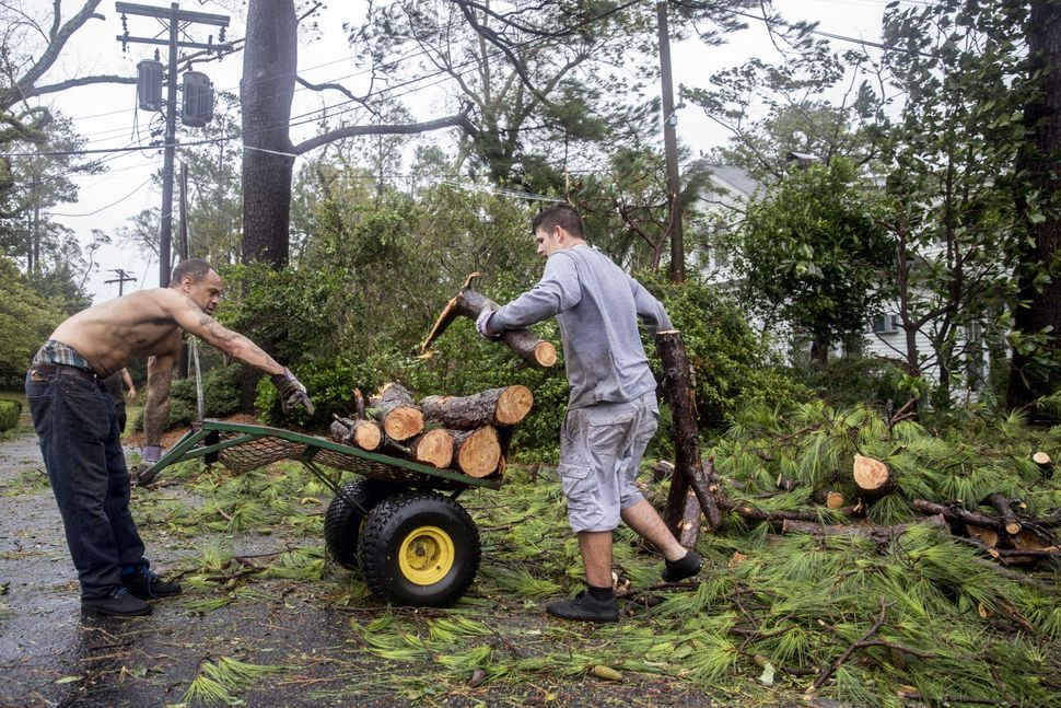 Residents clean fallen trees in Wilmington, North Carolina.
