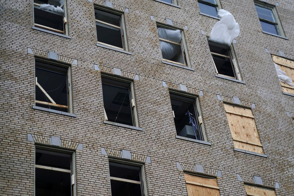 A building has lost lots of windows in Wilmington, North Carolina.