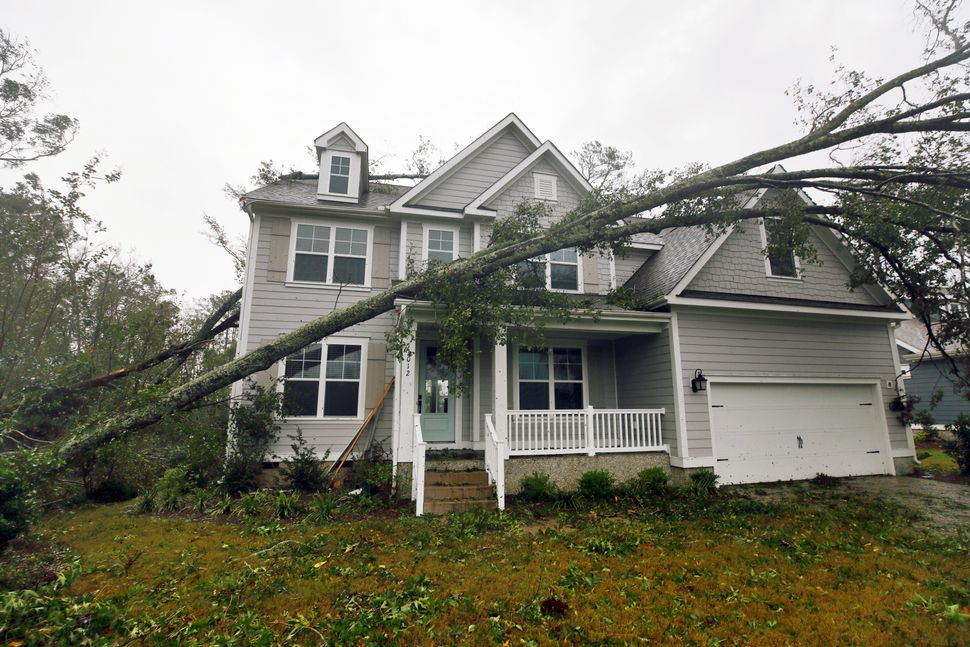 A tree rests on a newly-constructed house in Belville, North Carolina.