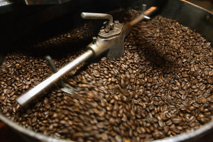 BERLIN, GERMANY - JANUARY 24:  Freshly-roasted espresso coffee beans cool in a refurbished 1918 Probat coffee bean roaster at