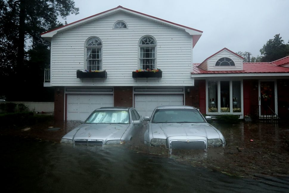 Homes are flooded in New Bern, North Carolina.