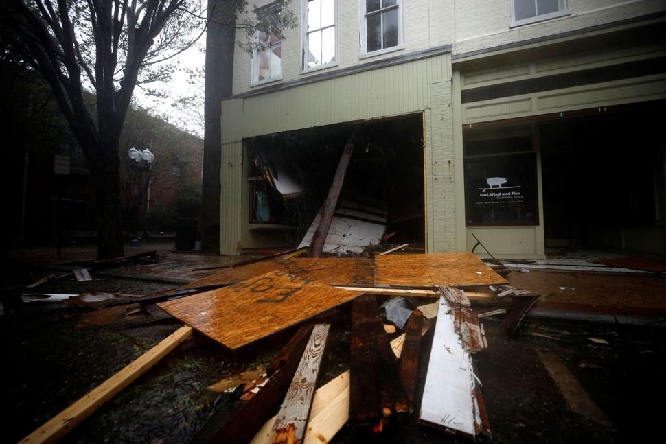 A damaged store in New Bern, North Carolina.