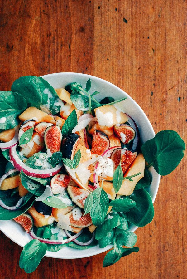 """<strong>Get the <a href=""""http://www.brooklynsupper.net/2014/08/fig-and-cantaloupe-salad-with-watercress-and-creamy-garlic-lim"""