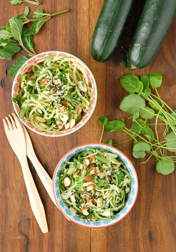 """<strong>Get the <a href=""""http://boulderlocavore.com/cold-cucumber-noodle-salad-with-watercress-mint-and-toasted-sesame-ginger"""