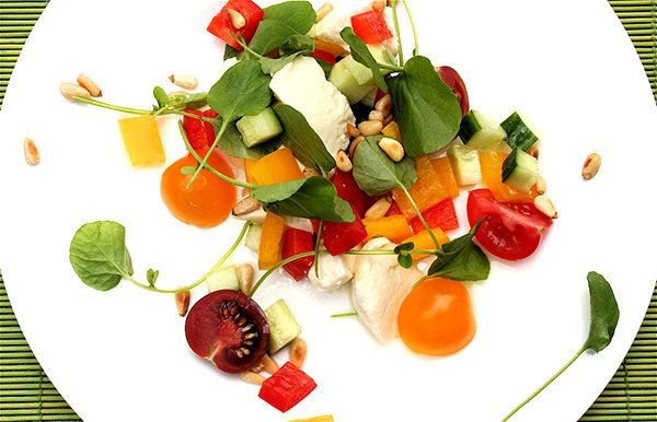 """<strong>Get the <a href=""""http://www.alexandracooks.com/2007/06/19/tomato-watercress-and-mozzarella-salad/"""" target=""""_blank"""">To"""