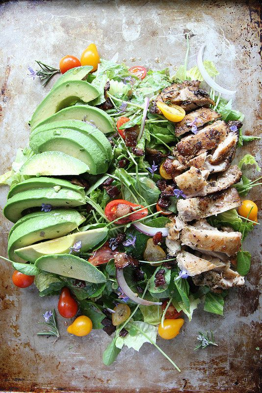 """<strong>Get the <a href=""""http://heatherchristo.com/cooks/2014/05/11/rosemary-chicken-avocado-and-bacon-salad/"""" target=""""_blank"""