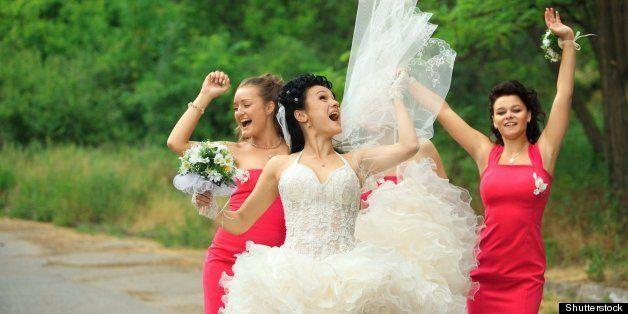 happy bridesmaids enjoying with ...