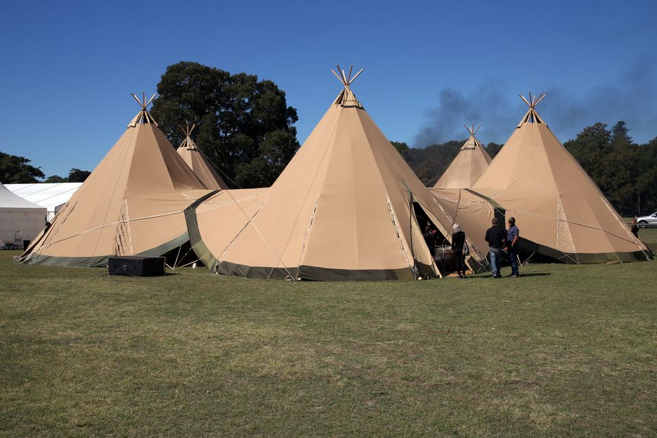 Teepees set up for the Camilla S/S 2013/14 show.