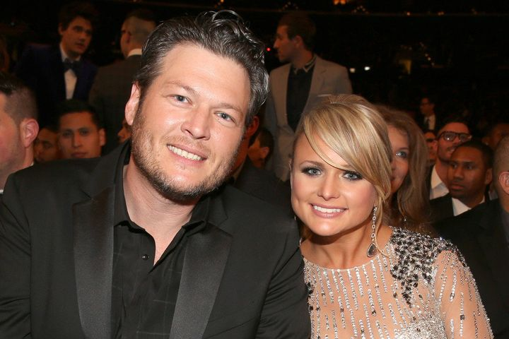 LOS ANGELES, CA - FEBRUARY 10:  Singers Blake Shelton (L) and Miranda Lambert attend the 55th Annual GRAMMY Awards at STAPLES Center on February 10, 2013 in Los Angeles, California.  (Photo by Christopher Polk/Getty Images for NARAS)